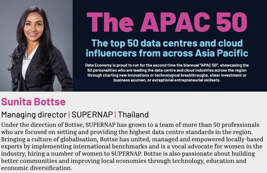 Sunita Bottse Recognized as a Top Data Center Influencer by Data Economy Magazine