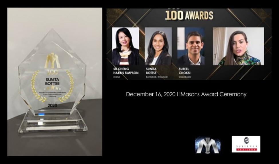 Mrs. Sunita Bottse, CEO of SUPERNAP (Thailand), has received an #IM100 Award from iMasons